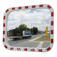 Зеркало дорожное со световозвращающей окантовкой прямоугольное 400х600 мм